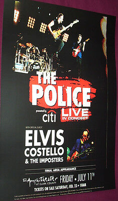 The Police Concert Poster Sting Elvis Costello 08 Tour