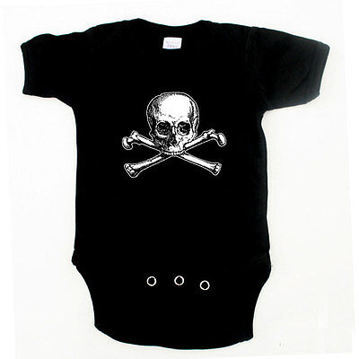 Baby Pirate Surrender the Boobies Skull One Piece Size 3m-24m Black and Pink