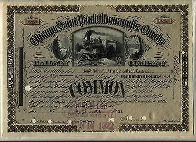 Chicago Saint Paul Minneapolis & Omaha Railway Stock Certificate