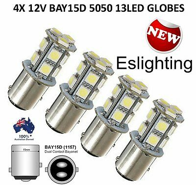 4 X Bay15D Smd 5050 Led Brake Stop Tail Light Bulb Globe 12V Light Car Ute 4Wd