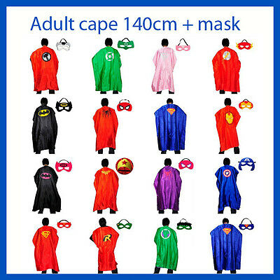 Adult Superhero Capes + Mask Costume Batman Superman Spiderman Super hero 140cm