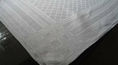 Antique French Linen Damask Tablecloth Diamonds & Stripes Monogram EW