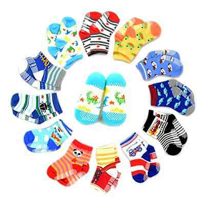 Marrywindix 12 Pairs Anti-slip Assorted Kids Socks Boys Girls Toddler