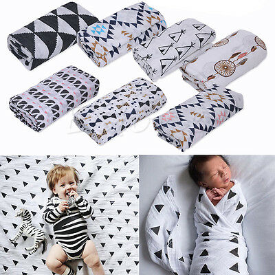 100% Muslin Cotton Newborn Baby Swaddle Blanket Bedding Covers Sleeping Blanket