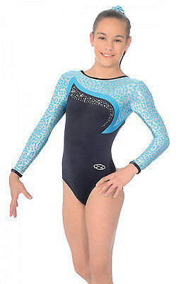 The Zone Leopard Jewel Long Sleeve Velour Gymnastics Leotard - Girls Sizes