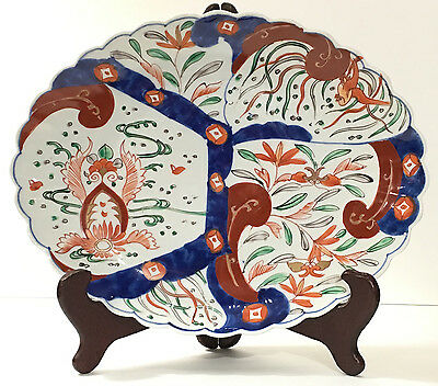 "Antique Japanese Imari Charger - Blue, Orange, Green - 12.5"" x 9.5"""