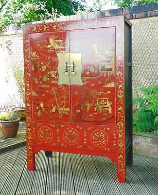 Late 19th Century Chinese Red Lacquer and Gilded Wedding Cabinet