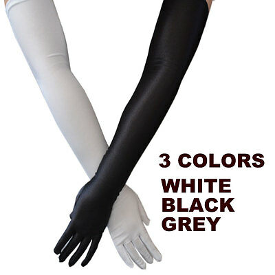 Ladies Party Dress Prom Evening Wedding Brisal Long Finger Gloves Black White