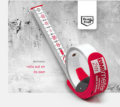 Bmi Meter White Stainless Steel Rule Tape 2M & 3M - Rust Free, Rolls Out On Own!