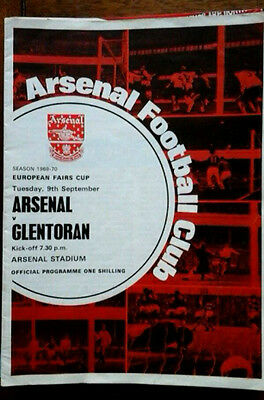 Arsenal V Glentoran 9/9/1969 Fairs Cup Token Neatly Removed