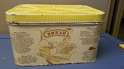 Vintage Tin Bread Box With Recipies