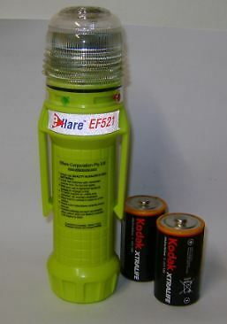 eFlare LED Beacon Warning Light EF521 Steady RED or GREEN Switchable+2 Batteries