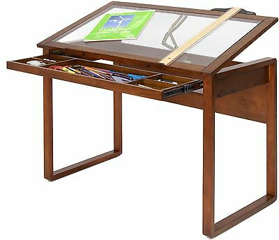 Drawing Drafting Table Art Craft Desk Storage Wood Glass Top Adjustable Office
