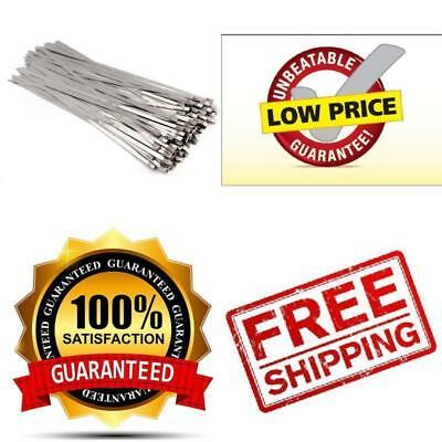 100 PACK Stainless Steel Exhaust Wrap Coated Locking Cable Zip Ties Metal Bulk