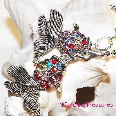 Colorful Crystal Fish Antique Silver Ceiling Fan Light Switch Pull Lg Pair F214