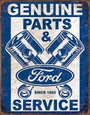 Ford Genuine Parts & Service Novelty TIN SIGN Vintage Garage Shop Wall Poster
