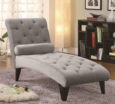 Soft Gray Velour Fabric Tufted Lounge Chaise with Black Legs by Coaster 550067
