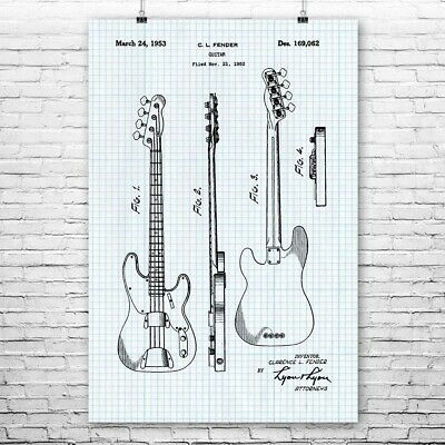 Bass Guitar Poster Art Print Guitar Wall Art Guitar Player Gift Guitarist Gift