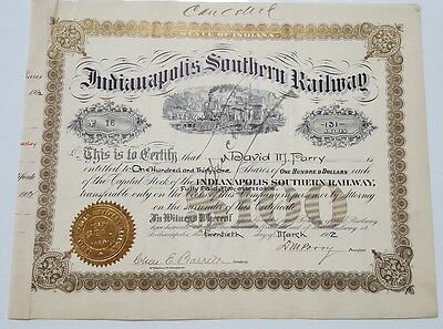 1902 Indianapolis Southern Railway Stock Certificate