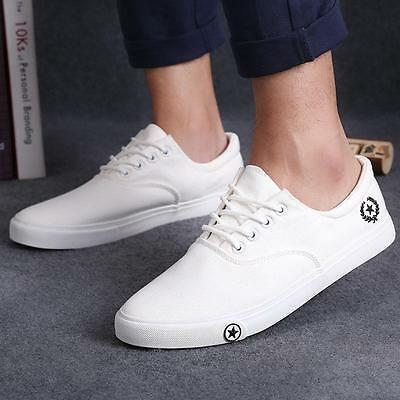 Fashion Men Breathable Casual Canvas Loafers  Slip On Sneakers Flats Shoes White