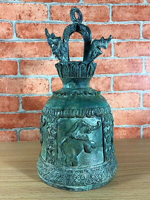 "4 Elephant 9"" Bell Thailand Only Rare Antique Style Clapper Temple Buddha Church"