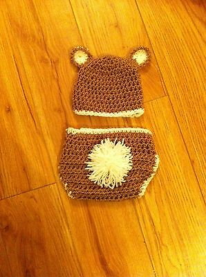baby brown bear hat and nappy cover 0-3 months unisex boy girl photo props