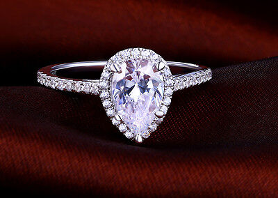 Pear Ring Engagement Diamond White Gold Shaped Ct 14k Cut 1 2 Solitaire Wedding