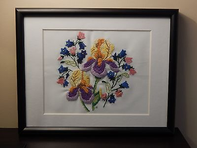 "Framed Crewel Embroidery - Floral Pattern with Initials ""AP"" - Metal Frame"