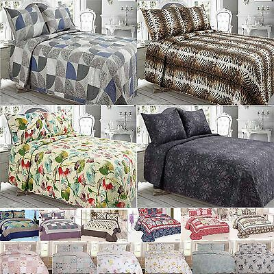 Quilted Bedspread Bed Throws Pillowcases Double King Size Patchwork Luxury
