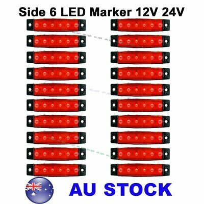 20X 12V 24V Red 6 LED Side Marker Indicator Light Lorries Truck Trailer AU Stock