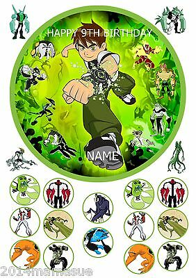 """Ben 10 Boys 7.5"""" Round Cake Topper Wafer Card Rice Paper & 18 Cupcake Toppers"""