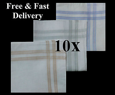 "10 x White Men Handkerchiefs 100% Cotton Super Soft Washable 14.5"" Square 002"