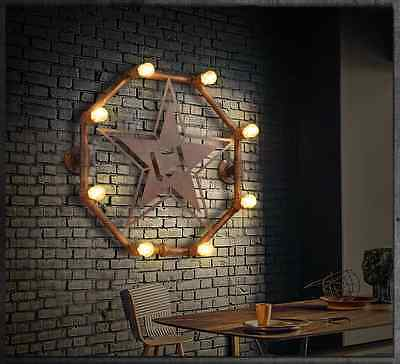 Industrial Steampunk Wall Mount Lamp 8 E14 Light Fixture Antiqued Star Sconce