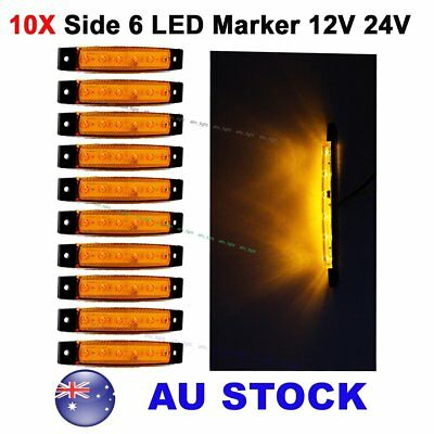 10X 12V 24V Amber 6 LED Side Marker Indicators Lights Car Truck Trailer AU Ship