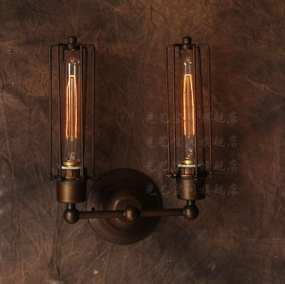 Vintage Antiqued Copper E27 Light Wall Lamp Cage Double Grand Edison Sconce