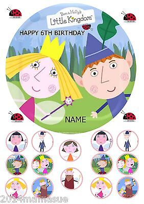"""Ben & Hollys Little Kingdom 7.5"""" Round Cake Topper Wafer Card Rice 18 Extras"""