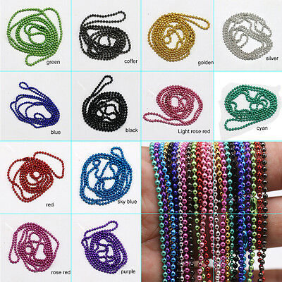Wholesale 10/50ps Strands Necklaces 1.5 2.4mm Ball Chains Beads W/Connector 70cm