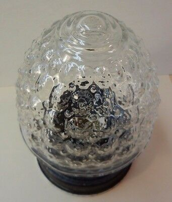 Antique clear glass textured honeycomb globe metal fixture ceiling porch vintage