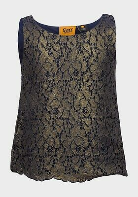 BNWOT Girl's Fun Spirit Navy Blue and Old Gold Lace Top Ages 3 to 7 Years