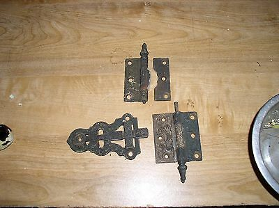Vintage Cast Iron Victorian Door Latch Lock Parts  and Hinges Eastlake Hardware