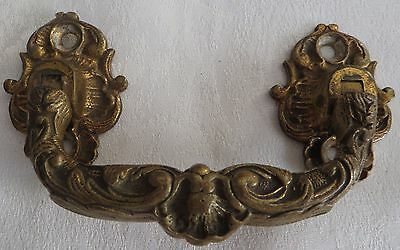 Heavy Lg Ornate Antique Victorian Drawer Pull Door Furniture Handle Solid Brass