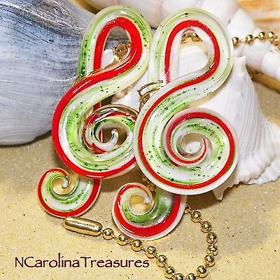 Music Note Treble Clef Red Green Glass Ceiling Fan Light Switch Pull Lg Pr M898