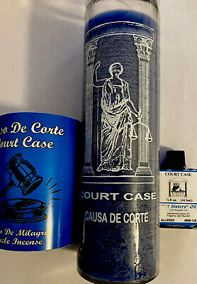 Court Case 3pc Gift Set - 7 Day Candle, Incense Powder And Court Case Oil Wicca