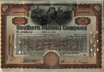 Southern Railway Company Stock Certificate Older Style Railroad 10 Shares