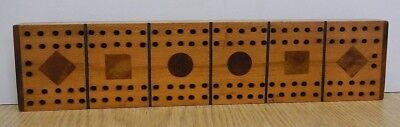 "Antique handmade inlaid wooden cribbage board 11 3/8"" long"