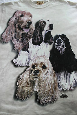 The Mountain Spaniels Dog 100% Cotton Tie Dye T Shirt 2001 Adult Unisex Med.