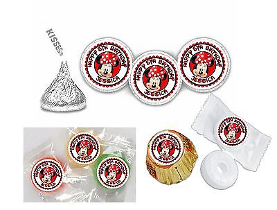 108 Minnie Mouse Birthday Hershey Kiss Labels Stickers Party Favors Personalize