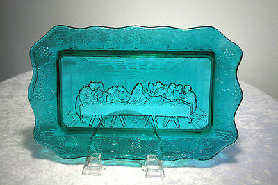 """Vintage 11"""" Indiana Glass Tiara Turquoise Teal Green Lord's Supper Tray Plate"""