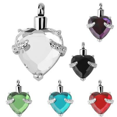 Heart Crystal Cremation Jewellery Ashes Urn Keepsake Necklace Pendant