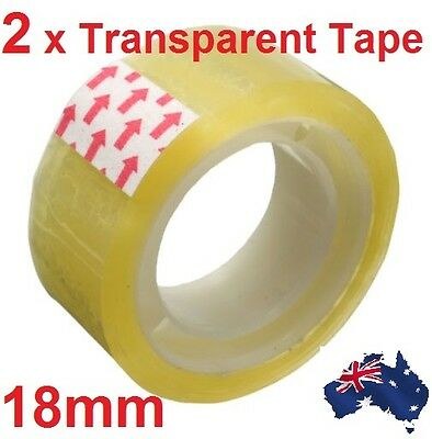 2x Rolls 18mm Clear Strong Transparent Scotch Tape Sealing Packing Stationery